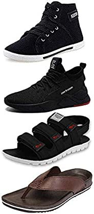 Maddy Men's Black, Brown and Blue Synthetic Sneaker, Loafer, Slipper & Sandal in Various Siz