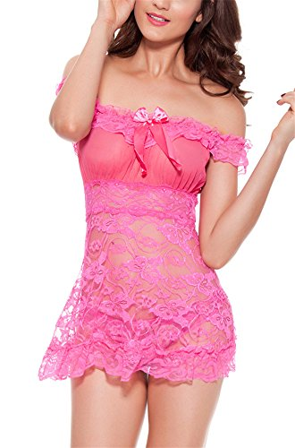 RZS Donna Sexy con Prospettiva Lace Sexy Lingerie Esotico Pizzo senza spalline Pigiama Con G-String(Rosa Rossa)