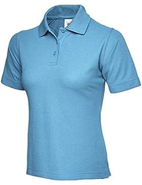 Ladies Polo de manga corta ocio Casual camiseta Top deportes trabajo Workwear