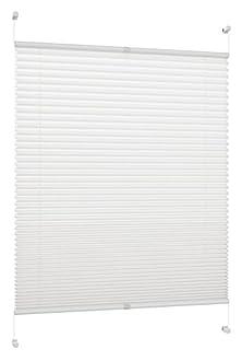 DecoProfi PL01115130 Tenda a Soffietto, Rigida, Altezza di ingombro Massima Pari all'anta della Finestra, con Supporto a Morsetto per fissarla Senza Bisogno di trapanare, 115 x 130 cm, Colore Bianco