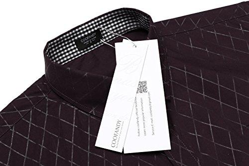 Coofandy Herren Hemd Diamant-Gitter Slim Fit Kariert Kent-Kragen Langarmshirt Businesshemd Weinrot