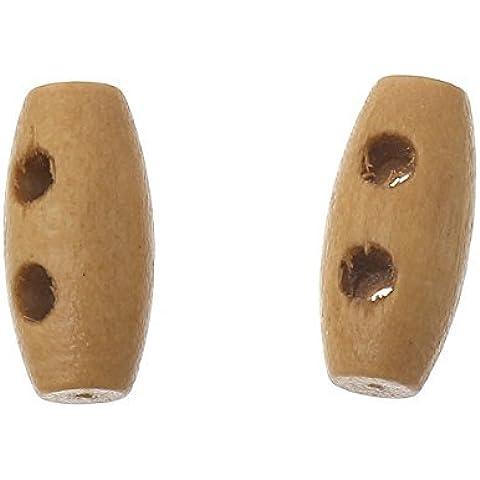 Il tasto e perline, confezione da 10, colore: oro, caffè, bottoni in legno, 15mm per Cucito, Scrapbooking, Artigianato, gioielli, stile Shabby Chic, lavori a