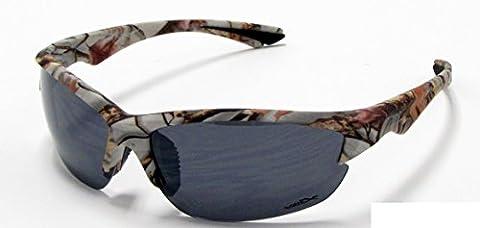 VertX Mens Sport Camouflage Sunglasses Fishing Hunting Outdoor – White Snow Camo Frame – Smoke