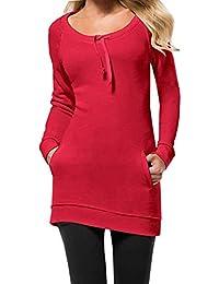 Primavera y Otoño Mujer Slim Vestido de Suéter Casual Largo Prendas de Punto Pulóver Túnicas Sudadera Moda Cuello Redondo Manga Larga…