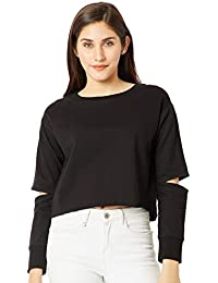Miss Chase Women's Black Slit Sleeve Crop Sweatshirt