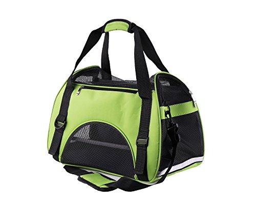Bolsa de Transporte para Mascotas, Cómodo Bolsode Hombro Portador de Viaje para Perros y Gatos, bolsa plegable para viaje de tren y avión.[ Verde ]