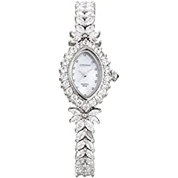 LONGBO Womens Fashion Stainless Steel & Rhinestone Band Bangle Watch Silver Oval Case Bracelet Wrist Dress Watches Lady Rhinestone Crystal Analog Quartz Wedding Watches
