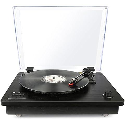 1byone Tocadiscos estéreo portátil con altavoces integrados, compatible con salida RCA / Toma de auriculares / MP3 / la reproducción de música de teléfonos móviles,