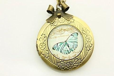 Collier Médaillon, Biue Papillon Photo Fond, bijoux en verre Médaillon, exquis Pendentif, espace Pendentif, Médaillon Photo Bronze, Cuivre Pendentif médaillon