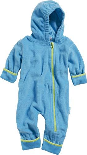 Playshoes Unisex Baby Fleece-Overall Farblich Abgesetzt, Blau (Aquablau 23), 92