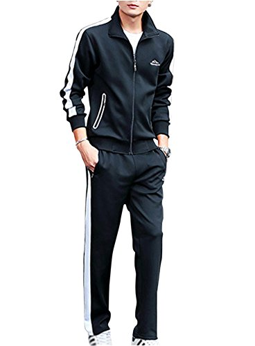 Guiran Herren/Damen Trainingsanzug Sweatjacke Hose Sportbekleidung Jogging Fitnessanzug Sportanzug Mschwarz 5XL