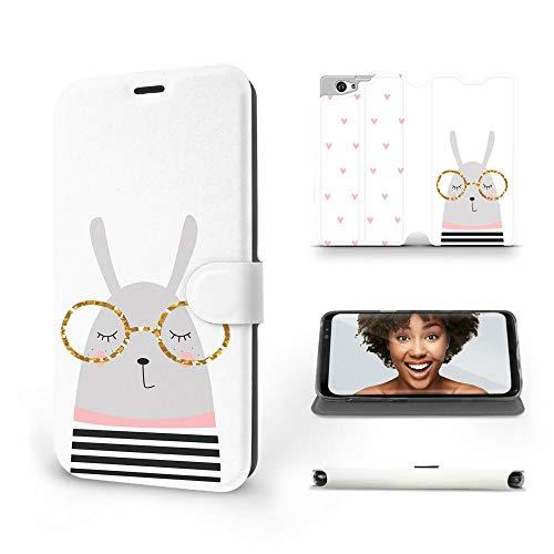 MOBIWEAR   Slim FLIP Case   Kompatibel mit Sony Xperia Z1 compact, Made in EU handyhülle, Premium Schutzhülle, Transparent TPU Silicon, Book Style Hülle, Tasche - Kaninchen mit Brille