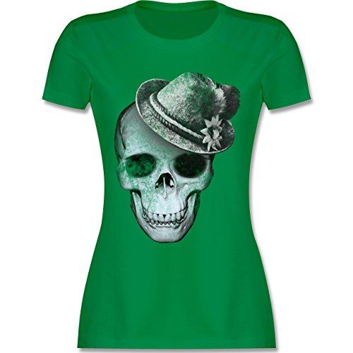 Oktoberfest Damen - Totenkopf mit Filzhut - M - Grün - L191 - Damen Tshirt und Frauen T-Shirt - Verrückt Mens T-shirt