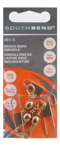 South Bend Fishing Lures Brass Snap Swivels Size 1/0 (3 Pack) by Sobend -