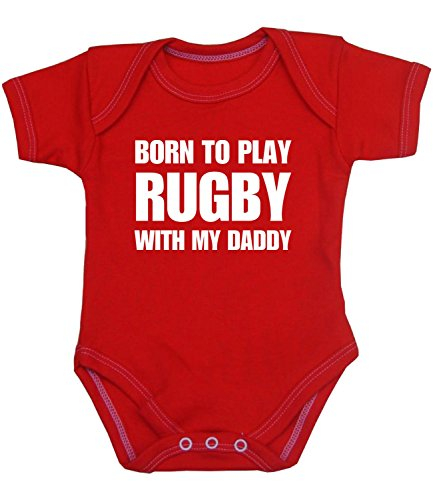 BabyPrem Baby Body Strampler 'Born to Play Rugby with My Daddy' Kleidung 62-68cm ROT - 66 Rugby