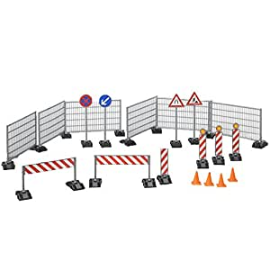 BRUDER - 62007 - Accessoires de chantier: Panneaux de signalisation, plots
