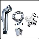 Kit douchette WC avec vanne 3 voies (12/17-3/8') - Douchette WC pour l'hygiène intime - Double jet d'eau'Tonique ou Doux' - ABS - Chrome - Taharat Taharet