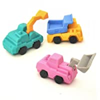Construction Vehicles Erasers - 3D Novelty Rubbers (Set of 3)