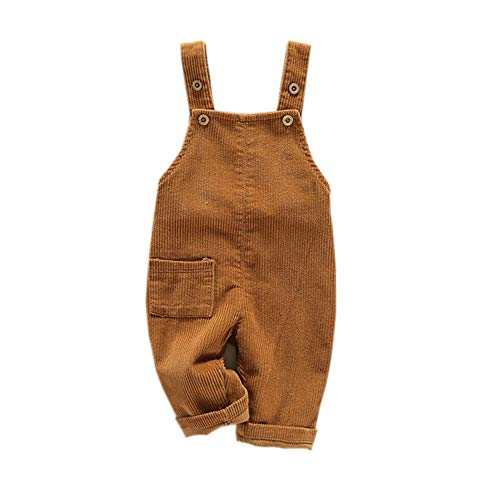 Fairy Baby Bambino Piccolo Bambini Tuta cordone Tuta da Lavoro Bretella Pantaloni Retro Size 80(12-18 Mesi) (Cachi)