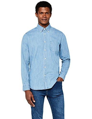 Meraki camicia di jeans a manica lunga regular fit uomo, blu (light blue), large