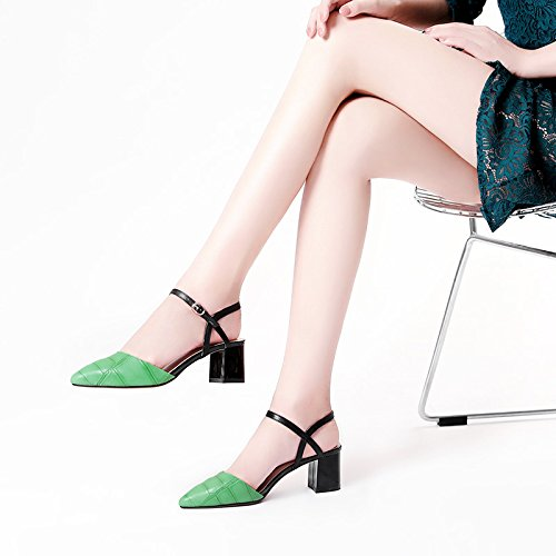 XY&GKBaotou Sandalen Frauen im Sommer Heel Sandalen Wort Tasten Schaffell Sandalen Sandalen Sandalen Frauen hingewiesen, komfortabel und schön 35 green