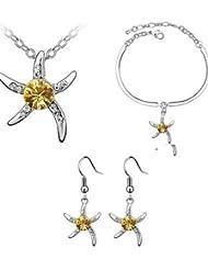 joyas de cristal de toda la venta Conjunto elegante diseño de cristal de la estrella de mar regalo único pendientes collar colgante anillo