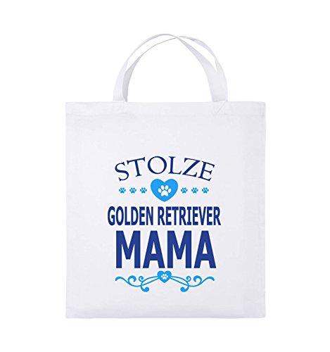 Borse Comiche - Orgogliosa Golden Retriever Mamma - Cuore - Borsa Di Juta - Manico Corto - 38x42cm - Colore: Nero / Bianco-neon Verde Bianco / Blu Royal-blu Chiaro