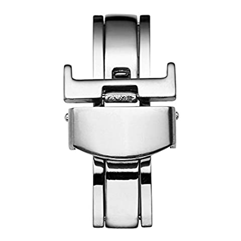 JSDDE Stainless Steel Deployment Clasp - 18mm Silver Double Push Spring Butterfly Deployant Clasp Watchband Buckle Clasp For Leather/Metal Watch Band