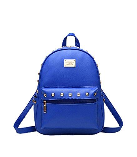 SAMGU Weibliche Tasche Rivet Rucksack PU-Beutel Schultaschen Farbe tiefes Blau Saphir