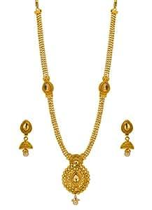 Bindhani Gold Plated Long Traditional Bridal Wedding Kundan Necklace Earrings Set Jewellery For Women