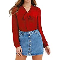 CRYYU Women Plus Size Chiffon Lace Up Long Sleeve V-neck T-Shirt Blouse Top Wine Red 5XL