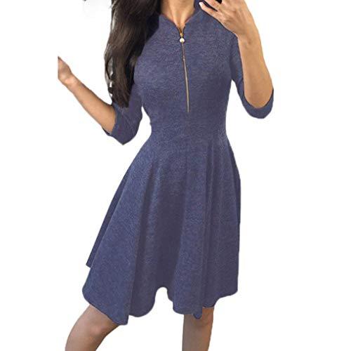 Hffan Damen Eng Sexy A-Linie Kleid mit Reißverschluss Langarm 3/4 Arm Rundhals Elegant Modisch...
