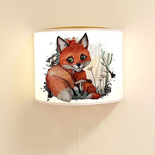 ilka parey wandtattoo-welt Wandlampe Kinderlampe mit süßen Fuchs & Jungtier Lampe Motivlampe Leselampe Kinderzimmer ls116 - ausgewählte Farbe: *weiß*