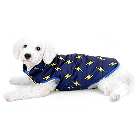 Selmai Puppy Hiver Gilet doublé en polaire coupe-vent résistant à l'eau sans manches Manteau en duvet pour femme Lightning pour petit animal Cat Doggie Chihuahua Vêtements tenues Vêtements