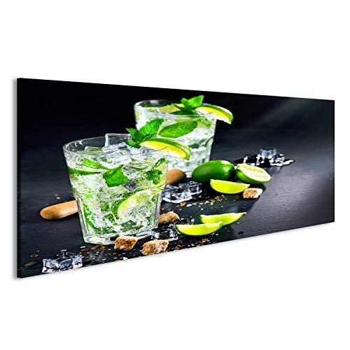 bilderfelix® Bild auf Leinwand Mojito-Cocktail auf einem Tisch. Sommercocktail mit Rum, Kalk, Minze, Eiswürfeln und braunem Zucker Wandbild, Poster, Leinwandbild KVQ -