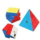 HJXDtech Cubos Mágicos Profesionales, Vivid Color Sin Etiqueta Adhesiva, Conjunto Speed Cube (2x2 + 3x3 +Pyraminx)