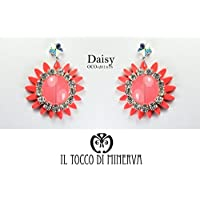 Orecchini Corallo fiore cristallo swarovski Daisy - Realizzati a Mano - Made in Italy-HandaMade-Regali ragazza-Artigianale-idee regali originali-regali di natale-regali per lei-regali di San Valentino