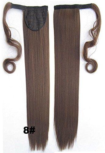 Queen Wig 22inch 55cm 90g Longs Raides enrouler autour clip dans le Ponytail Hair Extension - #8 Ash Brown