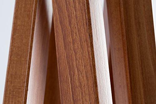 Hochwertige Design Stehlampe Tripod mit Textil Schirm in Grau Gold und Stativ/Gestell aus dunklem Holz Echtholz Nussbaum | H= 160cm | Stehleuchte | Handgefertigte Leuchte - 3