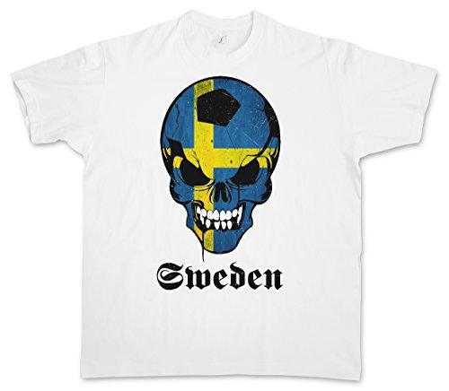 Urban Backwoods Classic Sweden Football Soccer Calcio Skull Flag T-Shirt – Cranio Bandiera Svezia Fan Hooligan Schweden T-Shirt Taglie S - 5XL Bianco