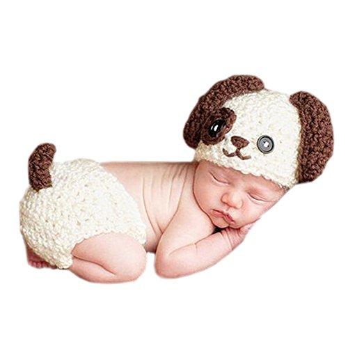 DELEY Neugeborenen Baby Niedlichen Häkel Kniting Cartoon Tier Hund Baby Fotografie Requisiten Kostüm Outfits 0-6 Monate (Niedlichen Hund Und Baby Kostüme)