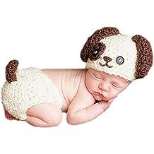 DELEY Bebé Recién nacido Lindo Crochet Kniting de dibujos animados Animales Perro Bebé de la Fotografía Props Traje de Trajes de 0-6 Meses