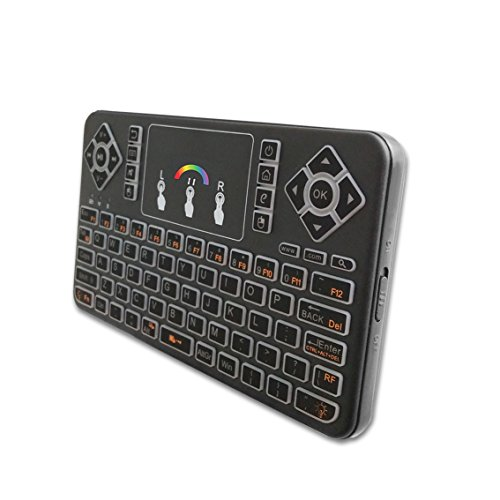 SZHENRY 2.4GHz Mini teclado inalámbrico con Touchpad y RGB Backlight, control remoto de mano para Android TV Box, PC de Windows, HTPC, IPTV, XBOX 360, PS3 y más