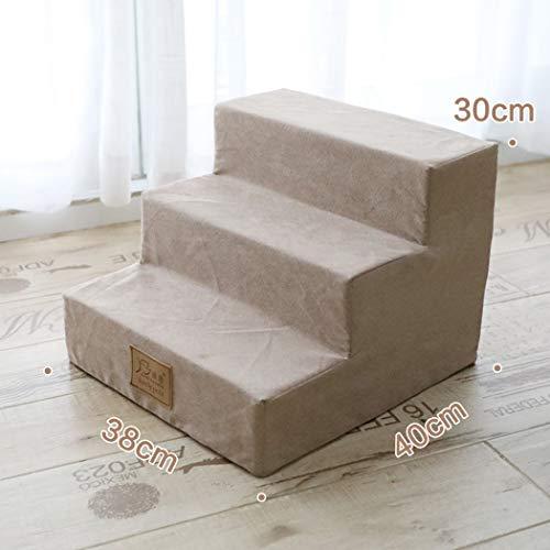 Zll Pet Bettleiter Kleiner Hund Teddy Treppe 3 Schritte Klettern Sofa Leiter für Hund Katze Little Animal Bis zu 1,5-3 kg,Khaki -