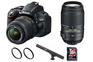 NIKON D5100 + zoom 18-55 VR + zoom 55-300 VR + 2x Filtres + Micro + carte SD-HC 8GB