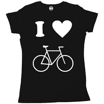 Batch1 Women's I Love Cycling Printed I Heart Bike T-Shirt, Black - S