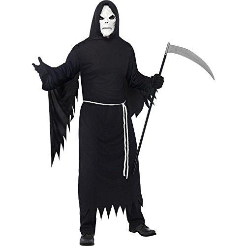 Wolf Robe (Smiffys Herren Sensenmann Kostüm, Robe mit Kapuze, Maske und Gürtel, Größe: L, 21764)