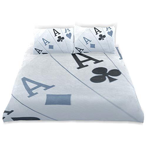 Vipsa Bettwäsche Set Poker A Muster 3-teilig Bettwäsche Set 100% Baumwolle mit Reißverschluss Bio-Modern Comforter Set Full/Queen (Set Bio-queen Bettwäsche)