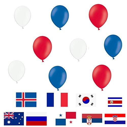 Luftballons - Blau/Weiß/Rot - 15 Stück Luftballons - made in Europa - Ballons als Fanartikel, Fußball, Deko, Party, Länder, Frankreich, Russland, Kroatien -für Helium geeignet - twist4®