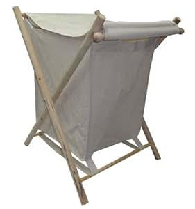 Lightweight Laundry Basket Linen with Folding Wood Frame
